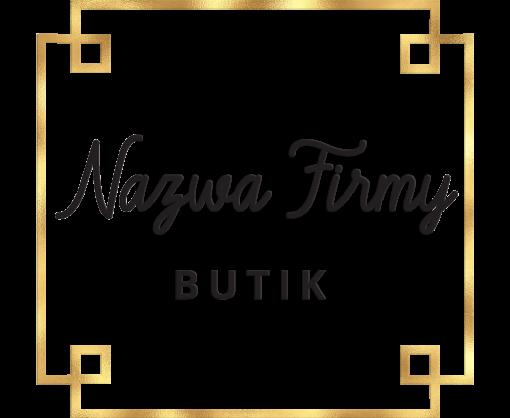 Przestrzenny logotyp ze złotym obramowaniem do butiku