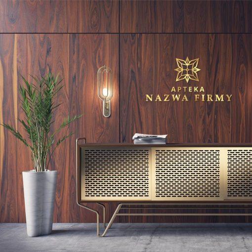 Przestrzenny logotyp złoty do apteki