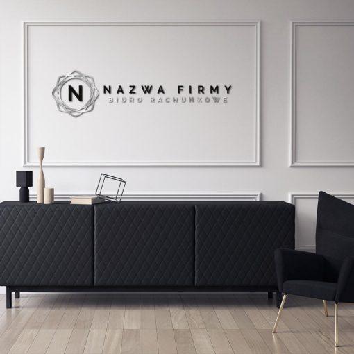 Trójwymiarowe logo dla biura rachunkowego z minimalistycznym ornamentem
