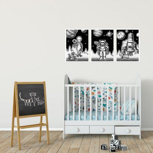 Kosmiczne plakaty dla dzieci w czarno-białych kolorach