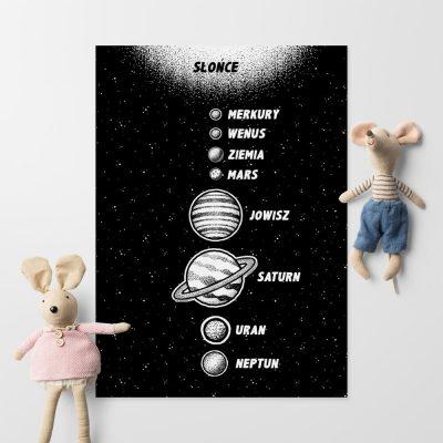 Plakat astronomiczny w czarno-białej tonacji
