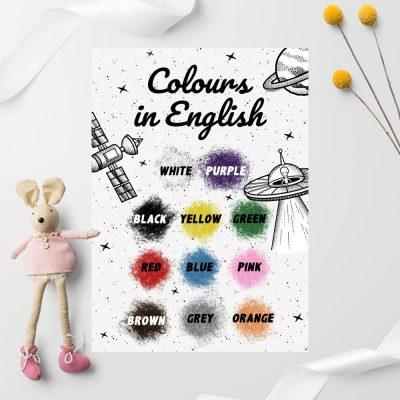 Plakat edukacyjny z nazwami kolorków
