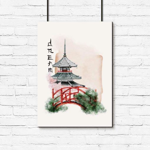 Plakat japoński ogród oraz napis: śnić