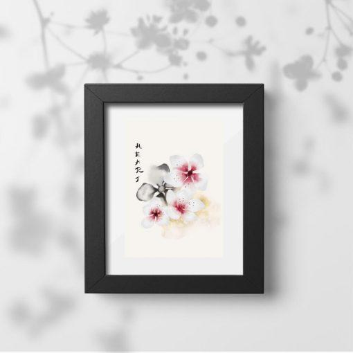 Plakat kwiaty wiśni i napis: heart