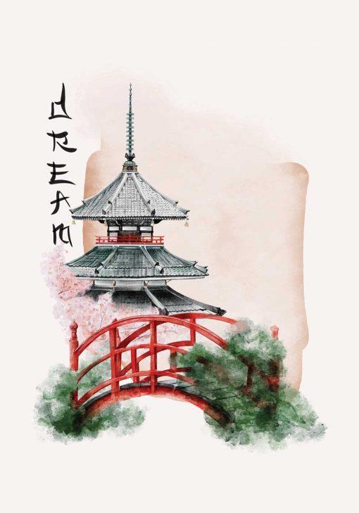 Plakat w motywem pagody oraz napisu: śnić