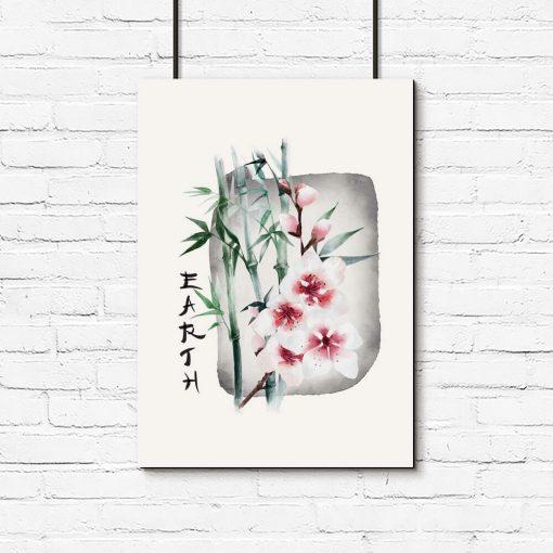 Plakat z bambusem i kwiatami