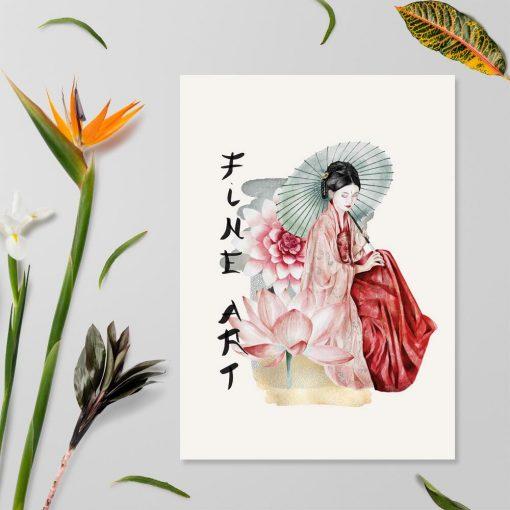 Plakat z gejszą i kwiatem lotosu i napisem fine art