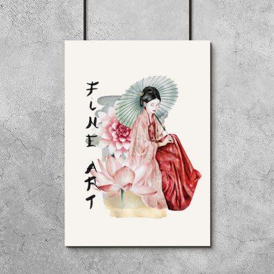 Plakat z japońską kobietą - gejszą