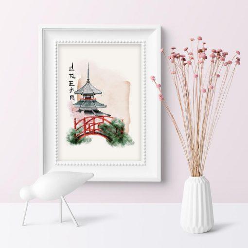 Plakat z japońskim mostkiem w ogrodzie oraz pagodą