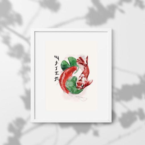 Plakat z japońskimi karpiami i napisem woda
