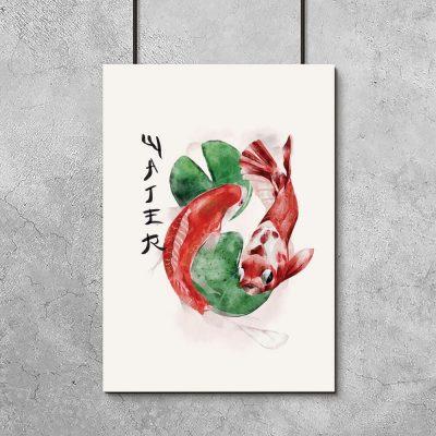 Plakat z japońskimi rybami i napisem woda