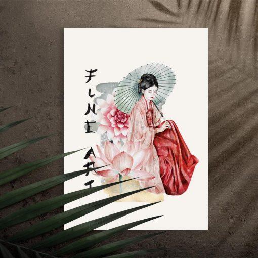 Plakat z kobietą sztuki -0 gejszą