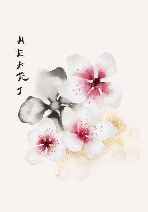 Plakat z kwiatami i napisem: heart