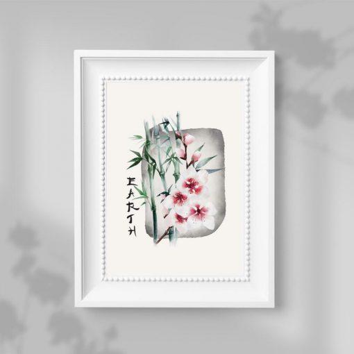 Plakat z kwiatem wiśni i bambusem