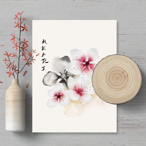 Plakat z motywem kwiatowym i napisem: heart