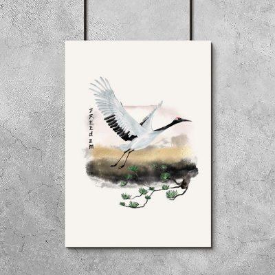 Plakat z motywem żurawia - symbolu wolności