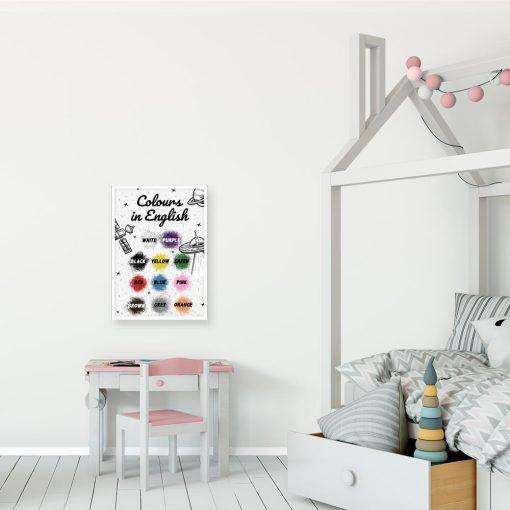 Plakat z nazwami barw w j. angielskim do pokoju dziecka