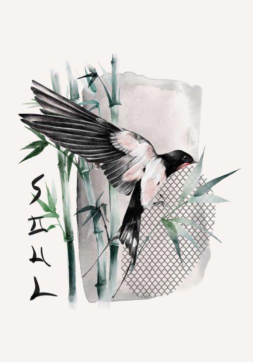 Plakat z ptaszkiem i napisem dusza