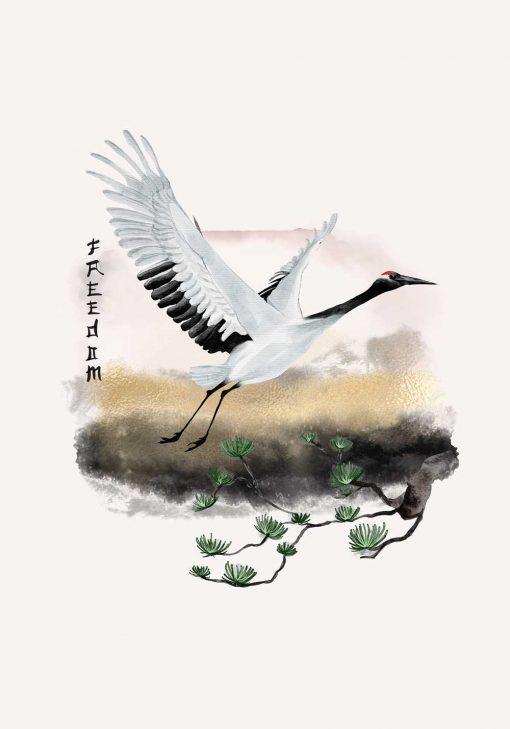 Plakat z żurawiem i napisem: wolność