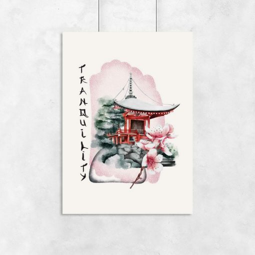 Plakaty z pagodą i napisem