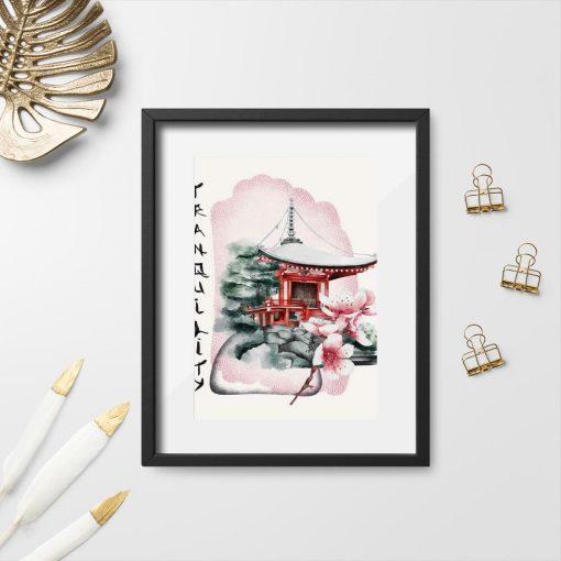 Plakaty z pagodą i wiśniami