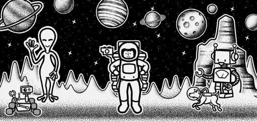 Trzy plakaty z kosmitami i astronautą